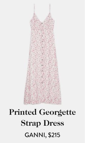 Printed Georgette Strap Dress GANNI, $215