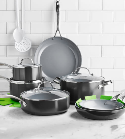 GreenPan Valencia Pro Ceramic Nonstick Cookware, 11-Piece Set