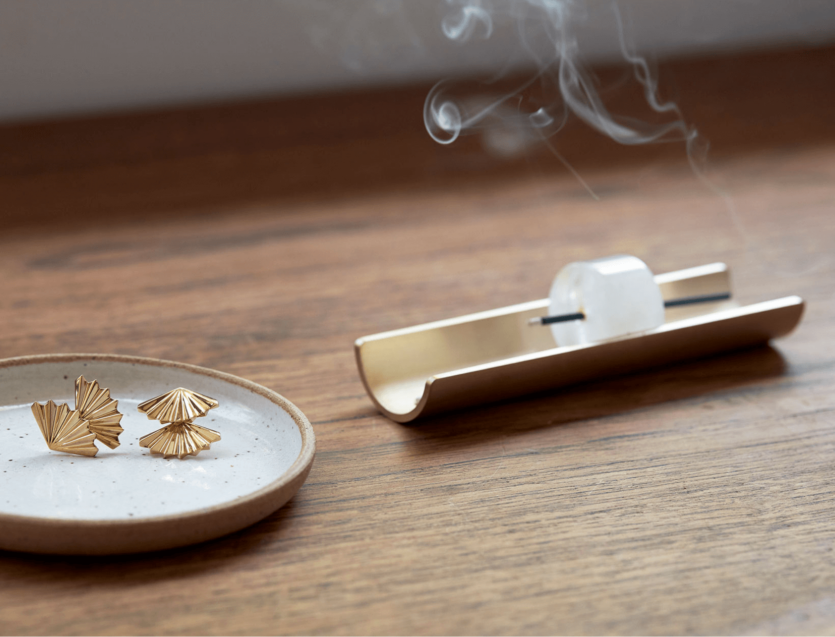 Incense burning on a table