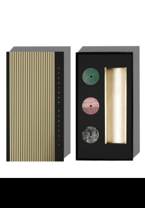 Cinnamon Projects Clear Quartz, Rose Quartz, and Aventurine Burner + Incense Set