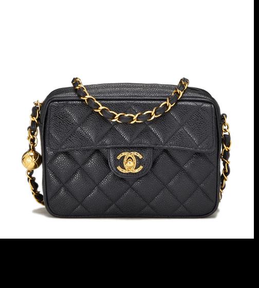 What Goes Around Comes Around Chanel Black Pocket Box Camera Mini Bag