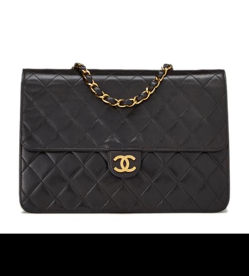 "What Goes Around Comes Around Chanel Black Lambskin 10"" Bag"