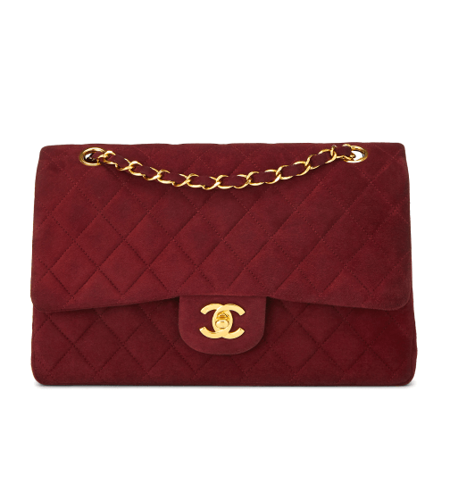 What Goes Around Comes Around Chanel Burgundy Suede 2.55 10