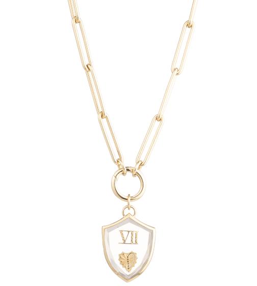 Foundrae Large Crest Gemstone Heart Necklace
