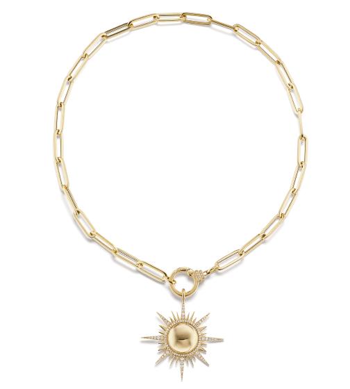 Sorellina Il Sole Pendant on Diamond Paperclip Chain