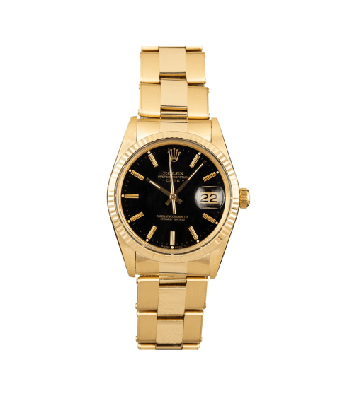 Bobs Watches Rolex Mens Date 14-Karat Yellow Gold 34mm