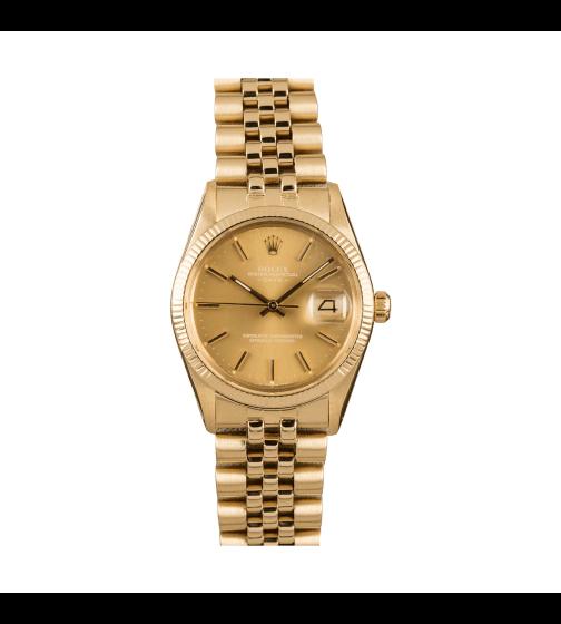 Bobs Watches Rolex Mens Date 14-Karat Yellow Gold 34mm